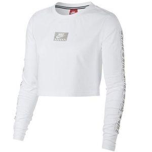 White NIKE Long Sleeve Crop Top